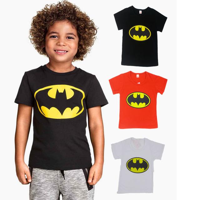 2016 бэтмен мода мультфильм мальчики мальчиков футболки с коротким рукавом футболки ...