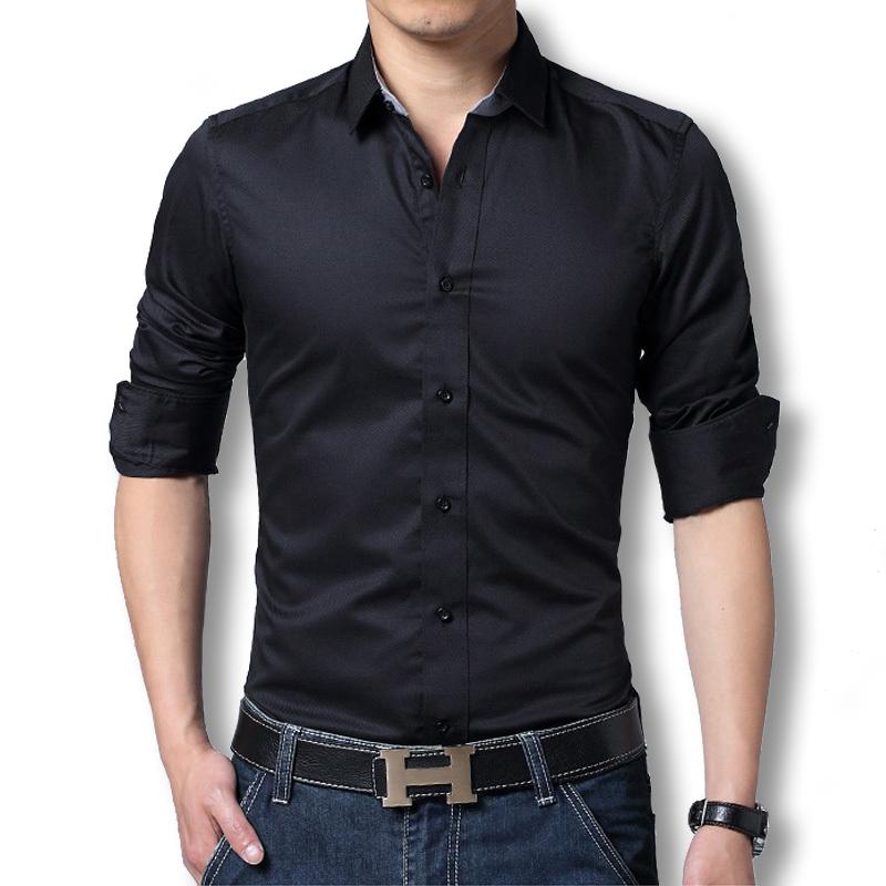 2015 Mens Dress Shirts Long Sleeve Men Dress Shirt Slim Fit Chemise Homme Black Dress Shirt