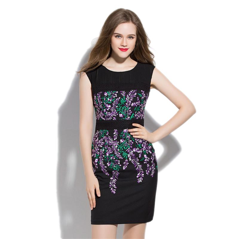 Women Embroider Sleeveless Dresses 2016 Summer New Elegant Sleeveless Mini Bodycon Dress Vestidos De Festa 2739(China (Mainland))