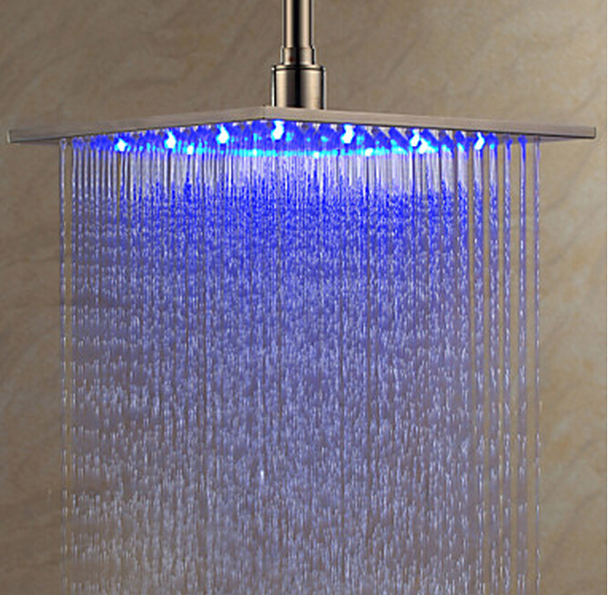 "Ceiling / Wall Mounted 8"" /10""/12"" /16"" Square Rain Shower Head Brushed Nickel LED Sprayer Wholesale And Retail(China (Mainland))"