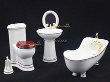 Bathroom Bathtub Toilet Basin Mirror Brush Porcelain Dollhouse Miniature 5pc Set(China (Mainland))