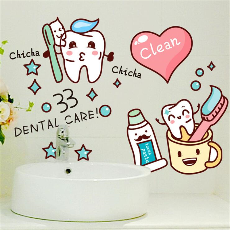 1 Wall Sticker Sheet Lovely Heart Toothbrush for Tile Glass Sticker Ceramic Tile Glass Decal Bathroom Home Decoration(China (Mainland))