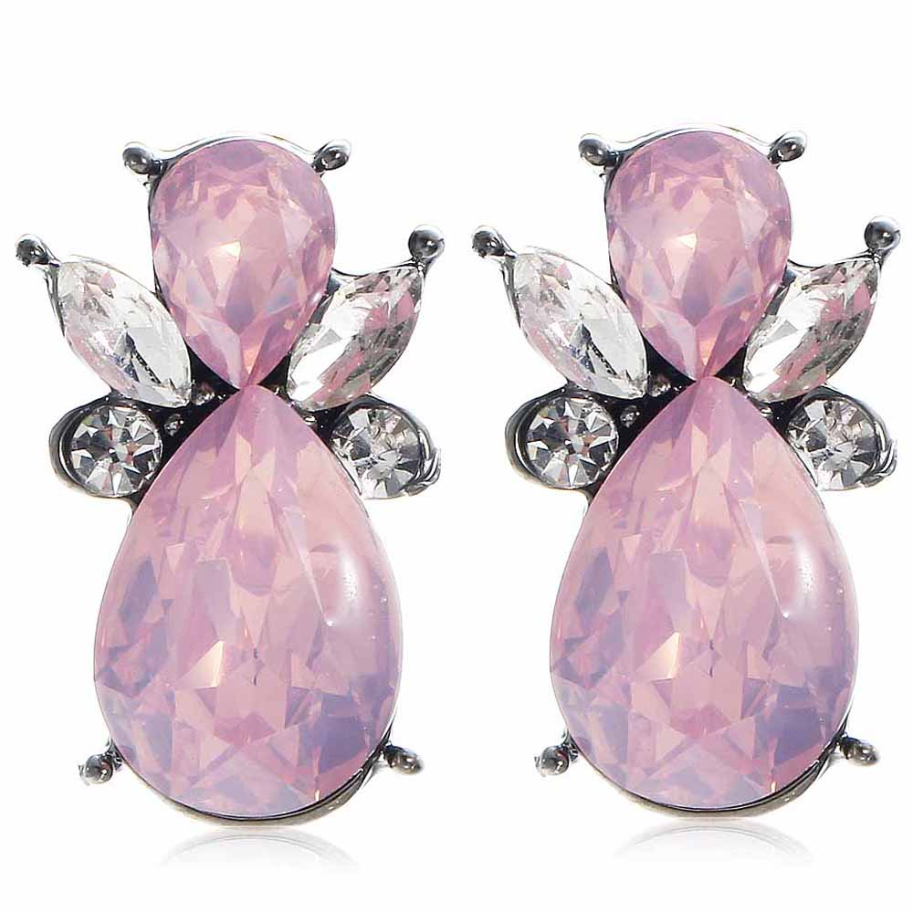 YaYi Pink White Glass Bee White Rhinestone Dangle Earring Women's Fashion Gun Black Gem Earrings For Women E1105(China (Mainland))
