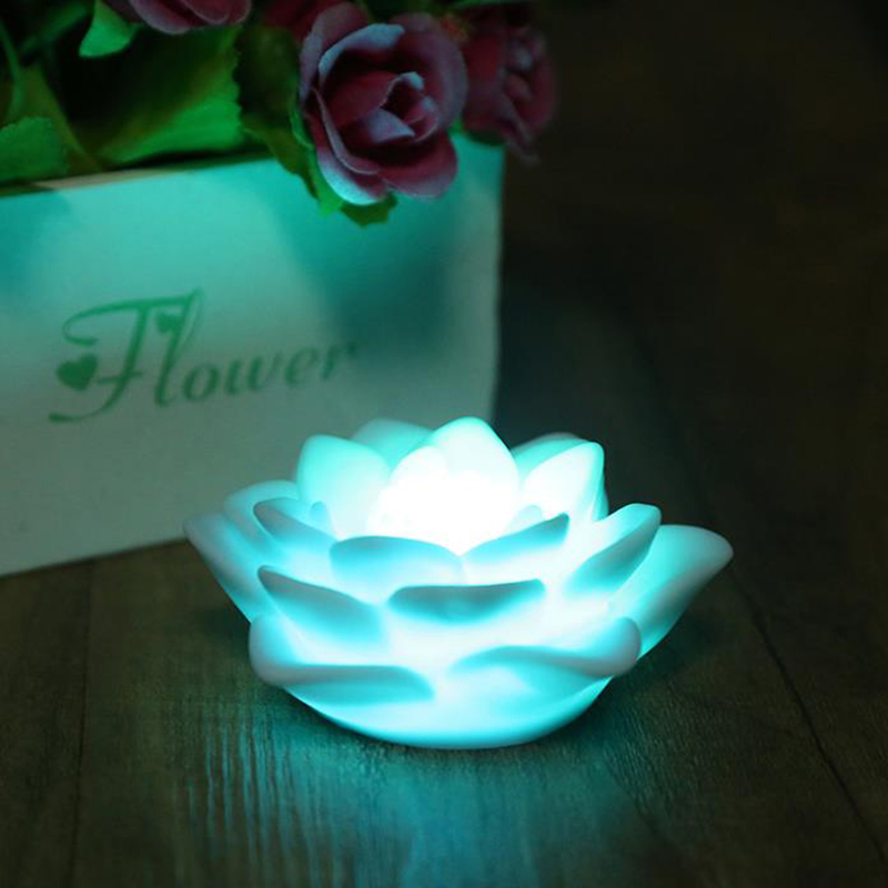 Romantic Seven Color Changing LED Lotus Flower Night Light Chiristmas Festival Party Love Wedding Bar Decoration Atmosphere Lamp(China (Mainland))