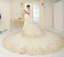 2016 Wedding Dresses Expensive Luxurious Ball Gown Beaded Appliques Cathedral/Royal Train With Long Trains Vestido de casamento(China (Mainland))