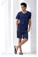 Men's Summer Cotton Pajama Set, Short Sleeve Tees and Shorts Combination Comfortable and Casual Loungewear/Sleep Wear(China (Mainland))