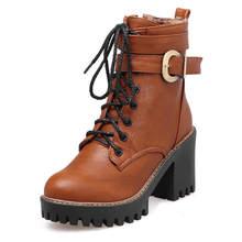 Bonjomarisa 2020 Thời Trang Chắc Chắn Đen Nền Tảng Xe Máy Nữ Mùa Đông Buộc Dây Giày Cao Gót Kéo Khóa Dây Giày Người Phụ Nữ 33 -43(China)