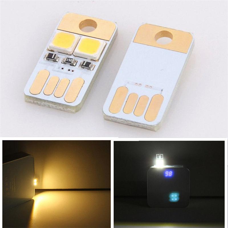 Double-sided Pocket Card Lamp Bulb Led Keychain Mini LED Night Light Portable USB Power(China (Mainland))
