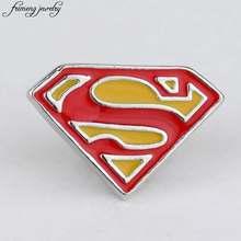 Superman Bros Superhero Komik Logo S Merah Lencana Bros Pin Fashion Aksesoris Breastpin untuk Pria Wanita Penggemar(China)