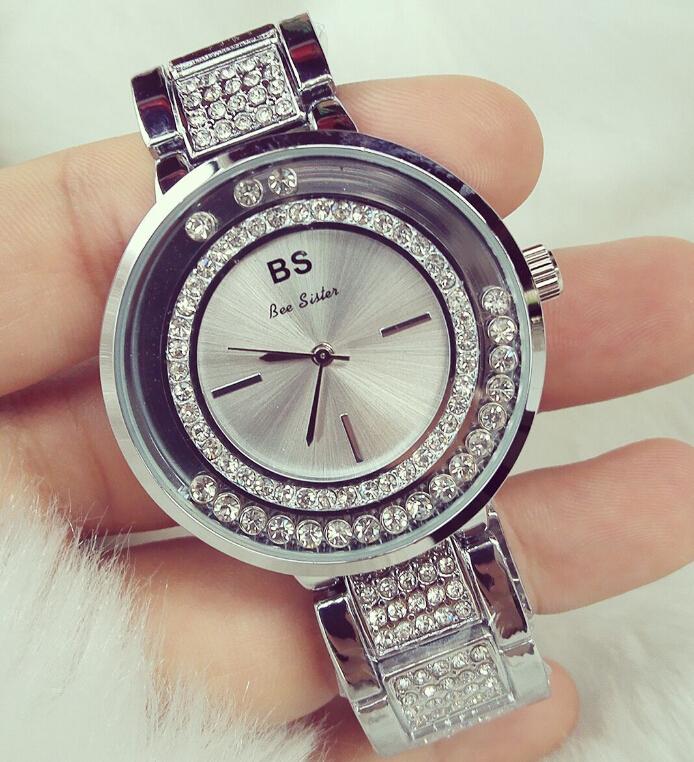 New 2016 Fashion Casual Clock Silver Bracelet Watch Women Rhinestone Watches Women's elegant Quartz Wrist Watch relojes mujer(China (Mainland))