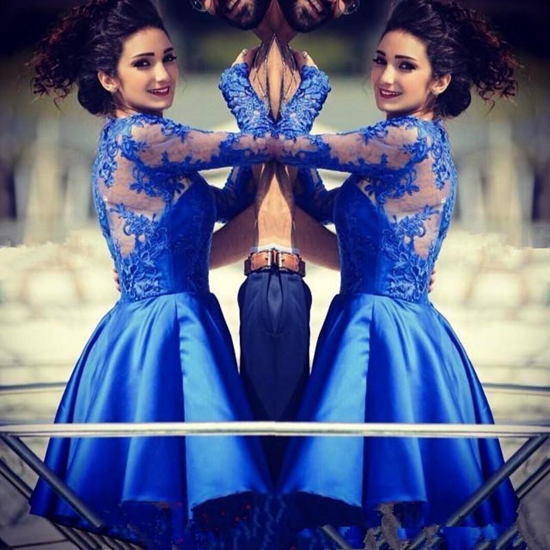 Vestidos de Festa Curto Azul Royal Manga Longa