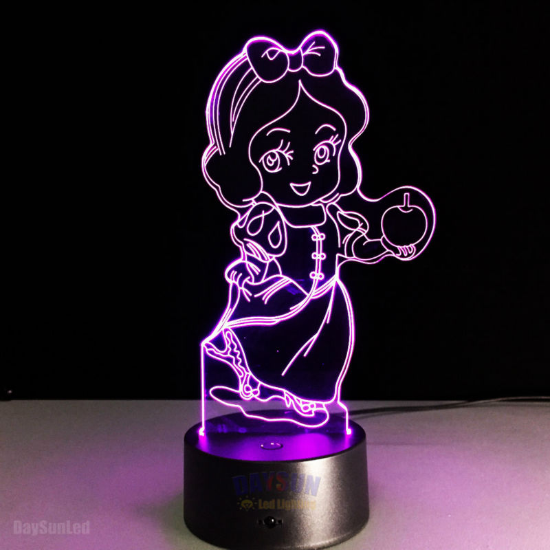 Snow White Princess LED 3D Visual Baby Nightlight Fairy Tale the Seven Dwarfs and Princess 7Color in One Lamp Decor Bedroom(China (Mainland))