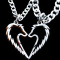 Tribal Wolf Statement Pendant Necklace Couples Jewelry Handcrafted Love Heart Colares Corrente de Prata hand cut