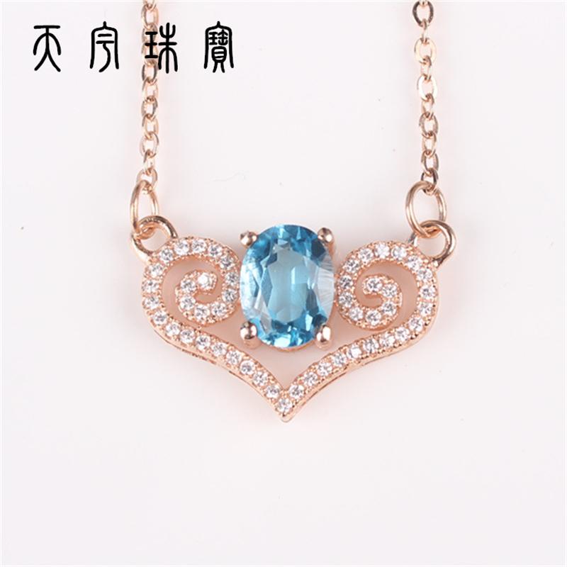 silver Valentine female natural Topaz pendant heart-shaped garnet<br><br>Aliexpress