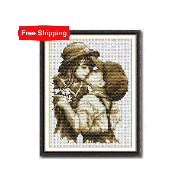Dmc вышивки крестом первого романтического поцелуя шаблоны счетный вышивка наборы для рукоделия вышивка нить живописи искусство домашнего декора