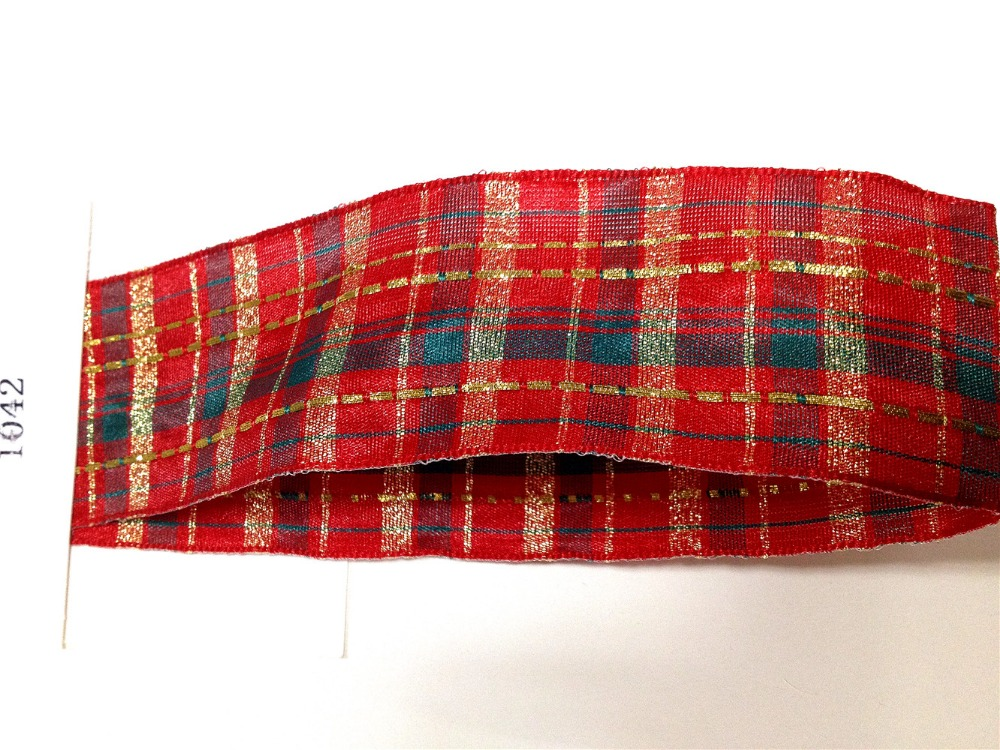 N1042 38mm X 25yards Golden Lurex Lines Red Wired Scottish Ribbon. Gift Bow,Wedding,Cake Wrap,Tree Decoration,Wreath(China (Mainland))