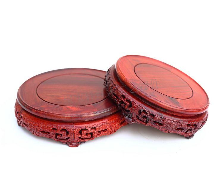 Red sandalwood rosewood carving handicraft circular base of real wood of Buddha stone vases base