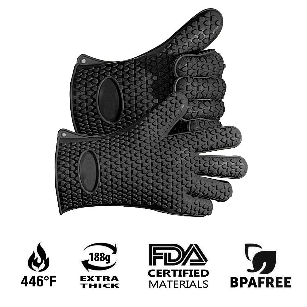 2pcs Food Grade Heat Resistant Thick Silicone Kitchen Barbecue Oven Cooking Glove BBQ Grill Glove Oven Mitt Baking Glove(China (Mainland))