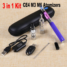 2015 3 in 1 Dry herb vaporizer pen herbal vape cigarette ego t e-cigarette e-cig starter kit with CE4 M3 M6 wax atomizers(China (Mainland))