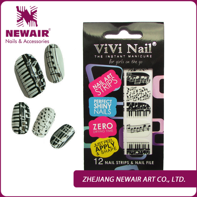 Free Shipping new design nail stirp for party simple adesivo nail sticker romantic nail polish strip for young women Wholesale(China (Mainland))