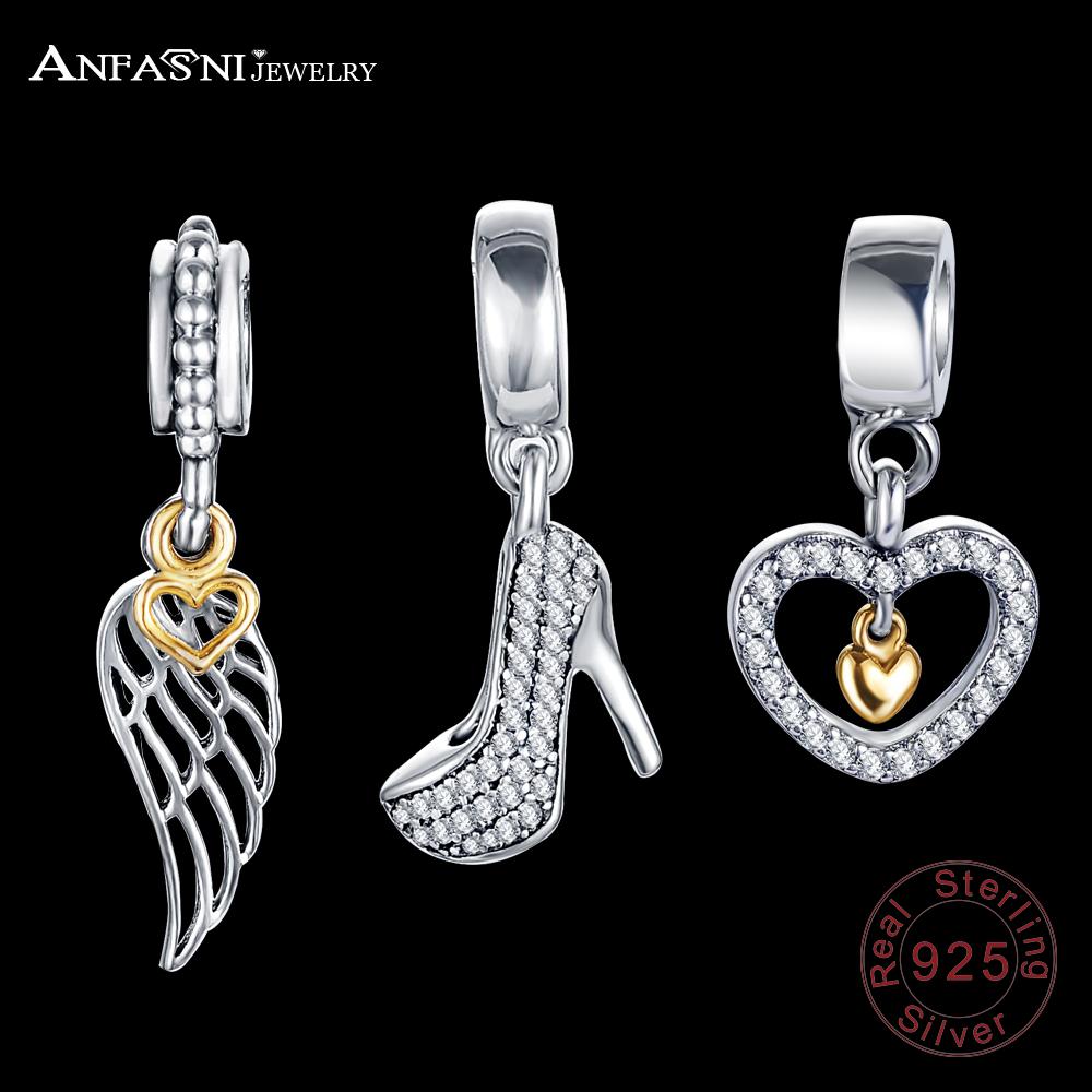 ANFASNI Fashion Charm Beads Pendants 925 Sterling Silver Charm Pendants Fit Bracelets For Women Mutil Opition(China (Mainland))