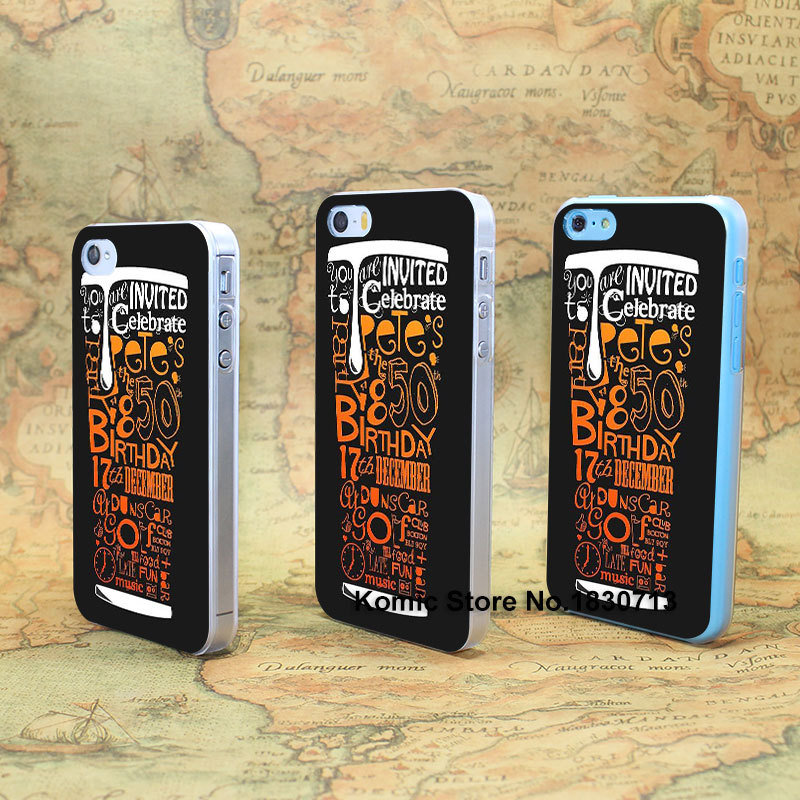 invited birthday late fun music dunscar celebrate Design hard transparent clear Skin Cover Case for iPhone 4 4s 4g 5 5s 5g 5c(China (Mainland))