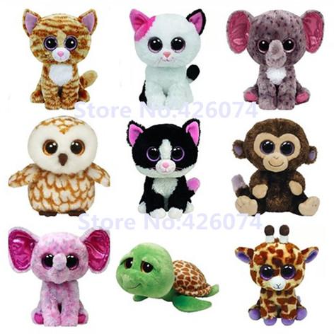 Ty Beanie Boos Big Eyed Stuffed Animals Medium 22CM Cat Elephant Giraffe Owl Monkey Turtle Kids Plush Toys Children Gifts(China (Mainland))