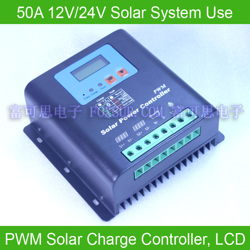 50A 12/24V PWM Solar Charge Controller, LCD display battery voltage capacity, Hi-Quality - Foxsur Electronics co., Ltd store