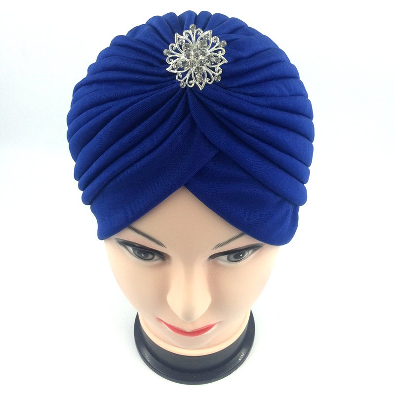 Indian Style Fashion women New Head Wrap muslim cap women turban hijab indian cap diamond with flower green red blue black red(China (Mainland))