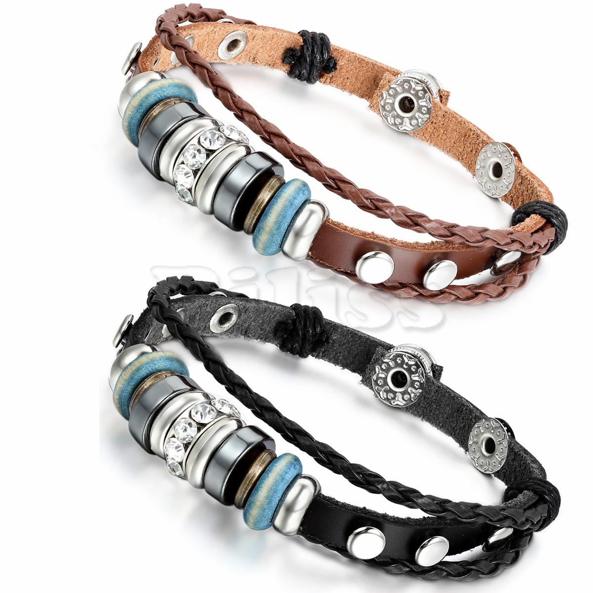 2pcs Mens Womens Leather Bracelet Surfer Wrap Bangle Charm Beads Braided Multilayer Bracelet Black Brown pulseira masculina(China (Mainland))
