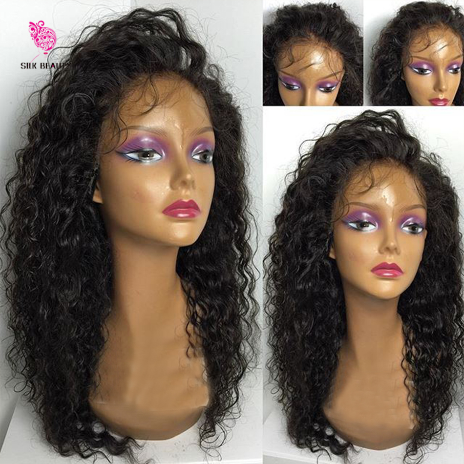 7A Glueless Full Lace Wigs Virgin Cambodian Water Wave Hair Wig Bleached Knots Full Lace Front Human Hair Wigs For Black Women(China (Mainland))