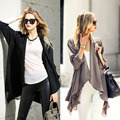 2015 New Autumn Chiffon Autumn Long Sleeve Irregular Hem Front Open Cardigan Outerwear