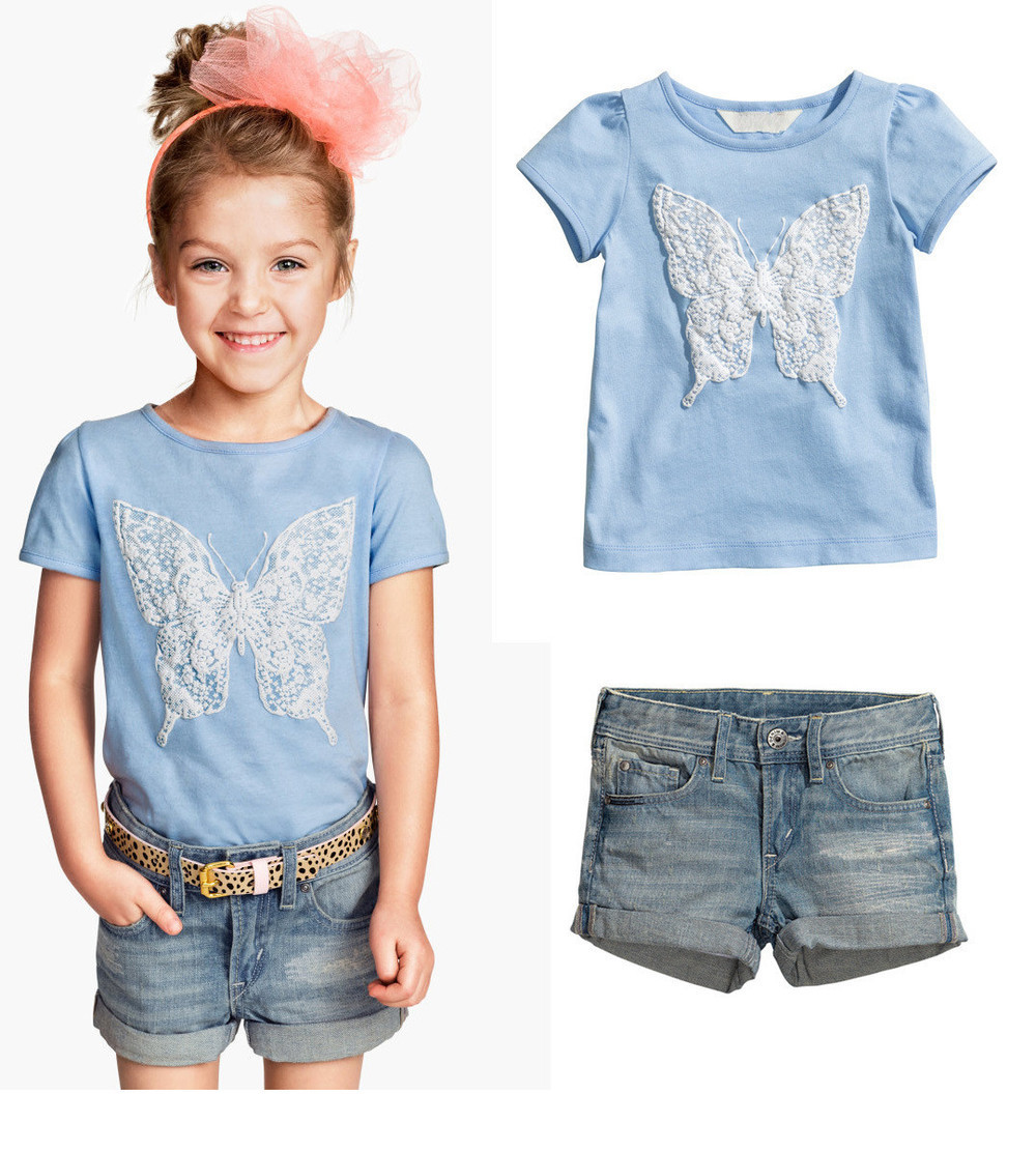 2015 NEW summer baby girls clothing set casual kids clothes short sleeve t shirt+short jeans ...