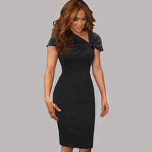 New 2015 Womens Celebrity Elegant Vintage Pinup Bow Ruched Tunic Business Casual Cocktail Party  Prom Bodycon Dress 266(China (Mainland))