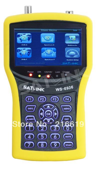 Satlink WS-6936 3.5'' DVB-S & T Meter Tuner , Satellite & Terrestrial Satfinder & Spectrum Analyzer WS6936(China (Mainland))