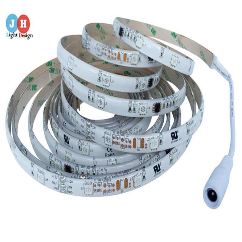 WS2811 5M 150LEDs SMD5050 RGB/Blue/Green/White/Red/White LED Strip IP65/IP67 12V Without Extra Controller LED Lights White PCB(Hong Kong)