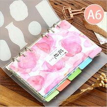 5Pcs/Lot Green Leaf Plants Flower A6 Classified Index Page Loose-leaf Notebook Slip sheet paper Bookmark Office Binding Supply