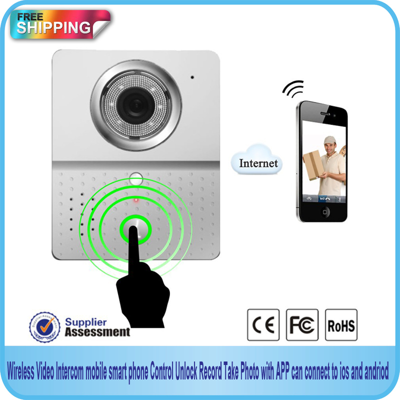 Free Shipping!Wifi Doorbell Camera Wireless Video Intercom mobile smart phone control IP Door phone connect to ios and andriod(China (Mainland))