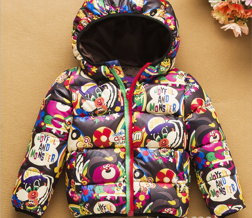 2015 Girls Hooded Jackets Children Cotton-padded Cartoon Coats Girl Winter Outerwear Coat Kids Apparels & Parkas(China (Mainland))