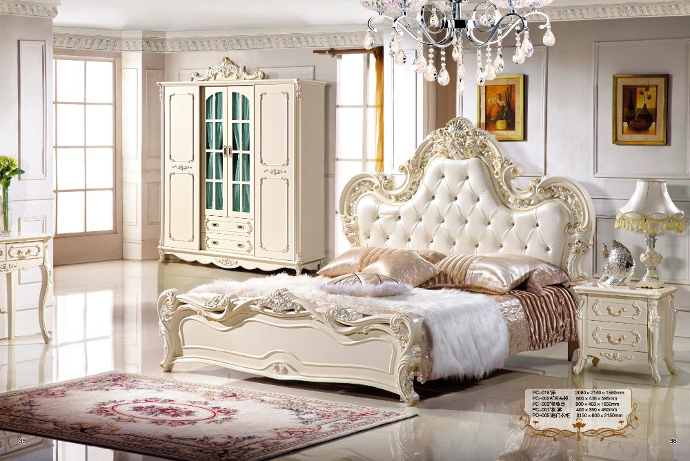 Antique style french furniture elegant bedroom sets pc 013 for Elegant white bedroom furniture