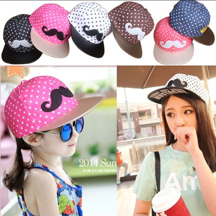 New Design Mustache Hip-Hop Baby Caps Cotton White Dot Pattern Cap Snapback Hat Boys&Girls Caps Mustache Hip Hop Baby Cap(China (Mainland))