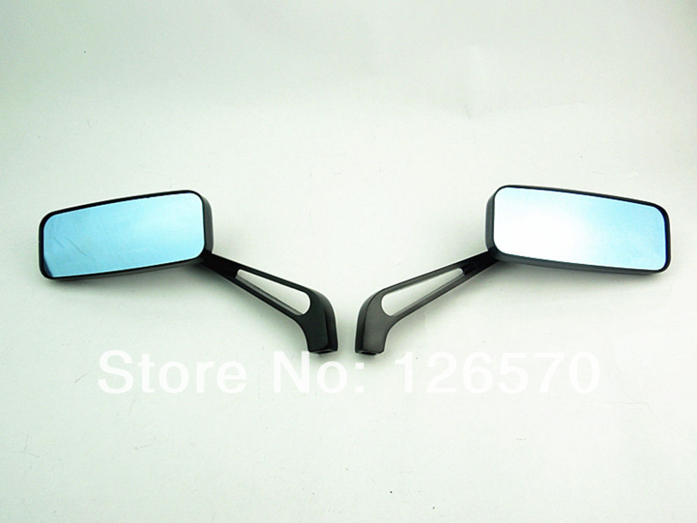 Free Shipping Black Rectangle Rearview Mirrors For Harley Motorcycle Cruiser Chopper Custom(China (Mainland))