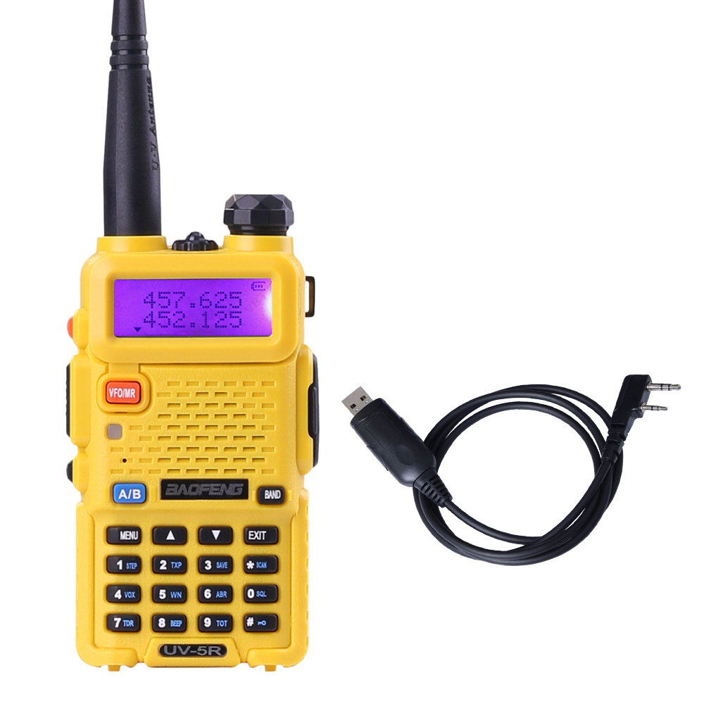 Free Programming cable Baofeng UV-5R Yellow Dual Band VHF136-174 UHF 400-520Mhz Two Way Radio Walkie talkie(China (Mainland))