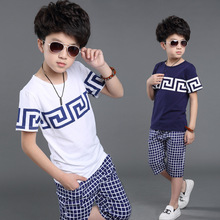 2016 summer style 4-13 age boys active geometric plaid sport clothing sets kids casual t-shirt capris children clothes suits 542(China (Mainland))
