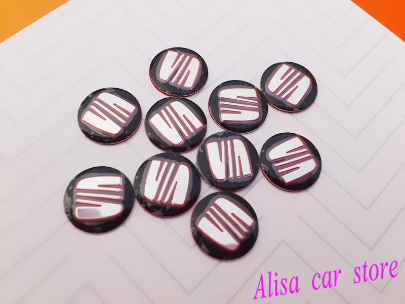 3pcs/lot 14mm SEAT 3D Sticker Car styling Car logo auto Key Fob Emblem Badge Radio button Sticker Auto accessories Free shipping(China (Mainland))
