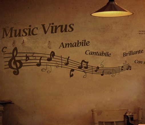 tv wall stickers romantic music notes(China (Mainland))