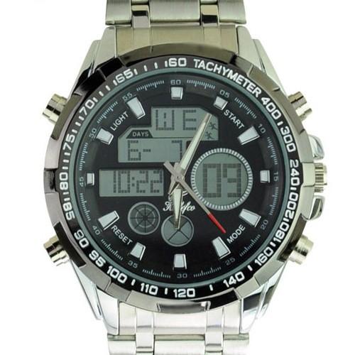 Много - функциональный CHM SPL ALM 30 M водонепроницаемый двойной время аналоговый цифровой спорт часы с нержавеющая сталь лента