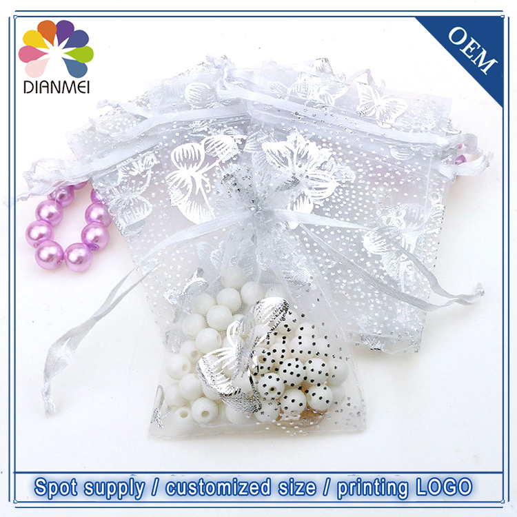 Wholesale 100pcs/lot 7x9cm White Butterfly Christmas Wedding Organza Voile Gift Packaging Bags & Pouches Tulle Candy Packages(China (Mainland))