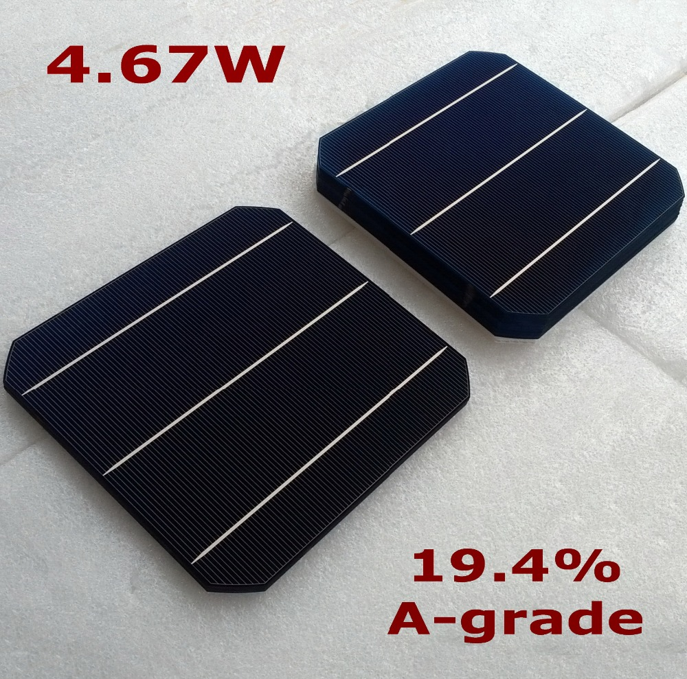 buy 4.67W 19.4% high-efficiency solar cells 156mm monocrystalline solar cell plate 6x6+Tabbing Wire of 300mm Precut +Busbar Wire(China (Mainland))