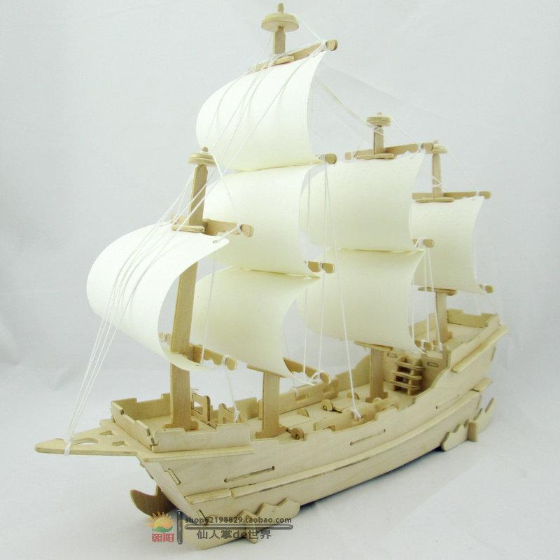 3D wooden puzzle ship diy model three-dimensional puzzle handmade assembling wooden toys sailing boat(China (Mainland))